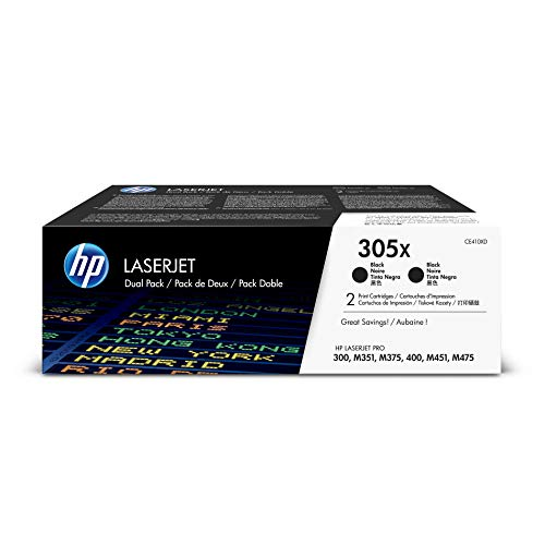 HP 305X (CE410X) Black Toner Cartridge High Yield, 2 Toner Cartridges (CE410XD)  for HP Laserjet Pro 400 Color MFP M451nw M451dn M451dw, Pro 300 Color MFP - Printer Hp Laser 400