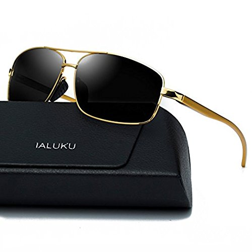 IALUKU Rectangular Polarized Sunglasses for Men Square Retro Aviator Sunglasses (Gold / Grey, - Square Retro Sunglasses