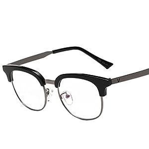 2016 new style Lens clear eye wear full frames Glasses frames (Black, 49)
