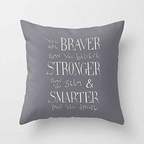 Decorative Pillow Case Winnie The Pooh Quote You are Braver Cushion Cover 18