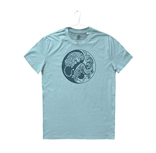 T La Maglietta Uomo Dào Wei Man Yin Chi River Mivestonaturale shirt Via Wu E Biologico Tigre Tao Tai Yang Blue Dragone Cotone TPd5xnwACq
