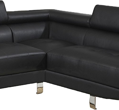 Poundex bobkona atlantic faux leather 2 piece sectional for Bobkona atlantic 2 piece sectional sofa
