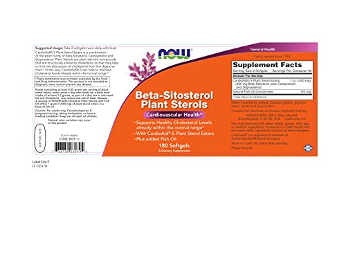 NOW Beta-Sitosterol Plant Sterols,180 Softgels