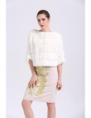 Xuanku BF-Fourrure Femmes Style 039;S Facile Tous Les Jours d'hiver Manteau De Fourrure Sophistiqués,Court Col Rond Manches ¾ d'autres blanc One-Taille