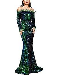 Sexy Off Shoulder Feather Long Sleeve High Split Sequin Floor Length Evening Maxi Dress
