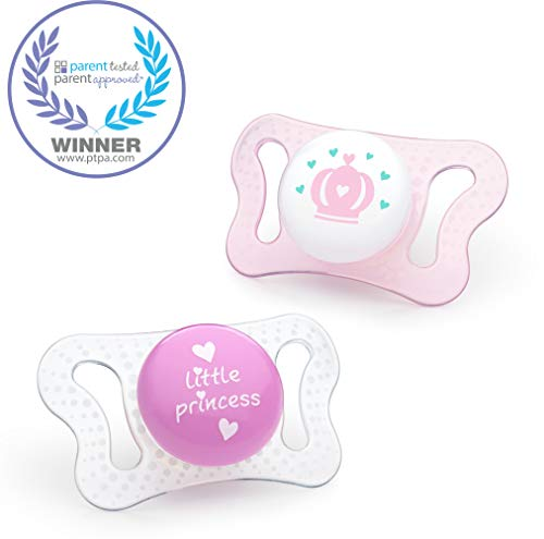 Chicco PhysioForma mi-cro Newborn Orthodontic BPA-Free Pacifier with Reusable Sterilizing Case (Made in Italy), 2-Pack, Pink, 0-2m