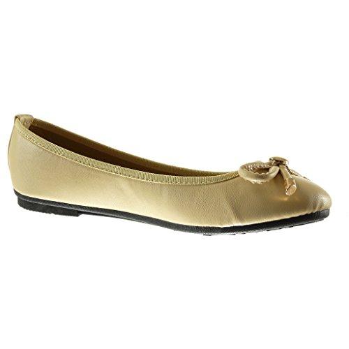 Angkorly - damen Schuhe Ballerina - Slip-On - Knoten - metallisch flache Ferse 1 CM - Beige