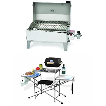 Superb Camco Stainless Steel Portable Propane Gas Grill And Deluxe Grilling Table  Bundle