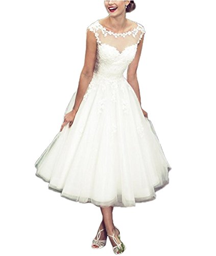 APXPF Women's Elegant Sheer Vintage Tea Length Lace Wedding Dress for Bride White US4