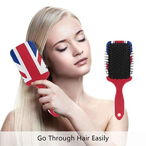(United Kingdom Flag Hair Brush,Scalp Massage Hair Comb with Air Cushion)