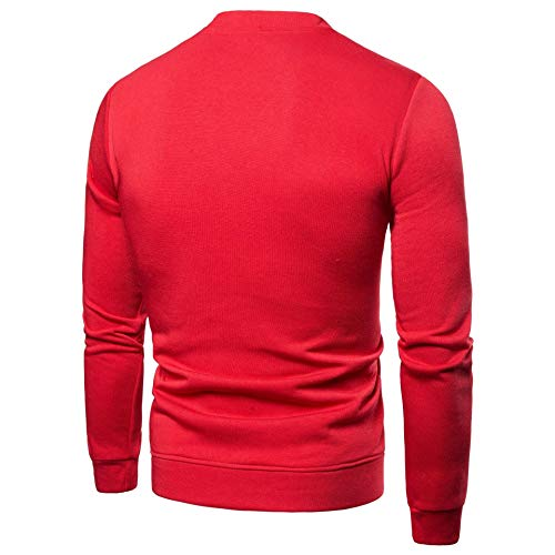 Sweatshirt Solid Collar Red Leisure Stand Casual Jacket Outwear Pockets Up MogogoMen UFwqTz