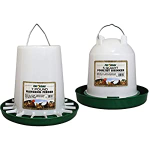 Manna Pro Chicken Waterer Feeder Combo with 7lb Hanging Food Dispenser & 5 QT Waterer 3