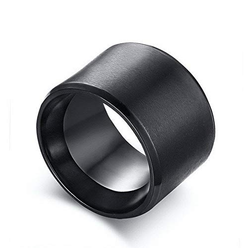 Waldenn 15mm Chunky Men Band Black Stainless Steel Bulky Mans Ring Punk Male Size 8-12 | Model RNG - 27357 | 12