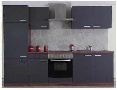 Mebasa CUCINAB270NGC cocina, moderna cocina, cocina de 270 cm brillante, cocina incluye empotrables - frigorífico empotrable a +, instalación fogones, vitrocerámica, acero inoxidable fregadero, campana extractora PKM DH8090 (nogal - color gris): Amazon ...