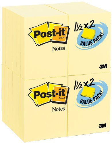 Post-it Notes Value Pack, 1-1/2 x 2-Inches, Canary Yellow, 24-Pads/Pack by Post-it