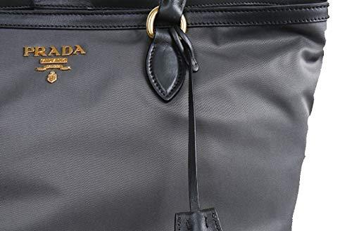 Prada Gray Tesutto Nylon w Calf Leather Trim Shopping Tote Handbag 1BG158