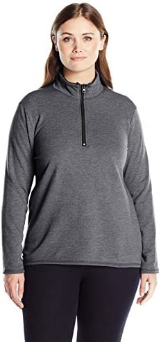Just My Size Lighter Weight  Fleece Lined 1//4 Zip Mock Neck Sweatshirt 2X Grey