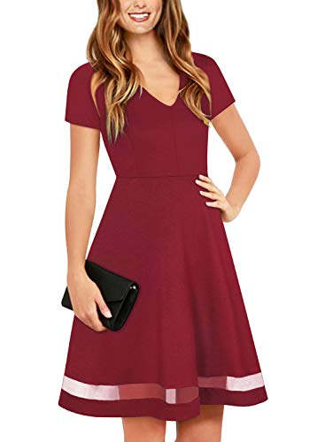 (Ranphee Womens Burgundy Short Sleeve Cute Fit and Flare Modest Semi Formal Skater Dress)