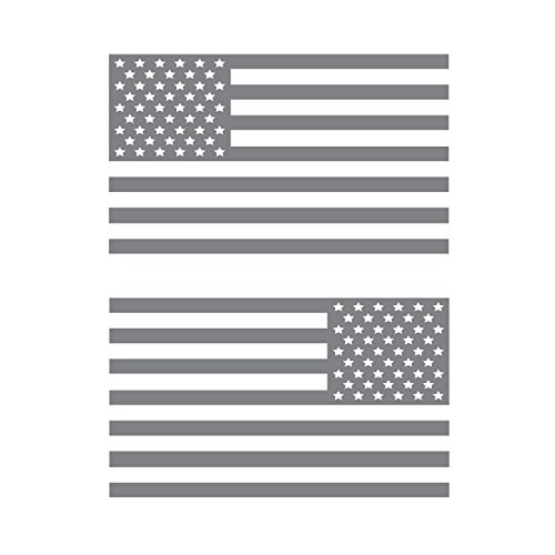 USA Subdued Single Color American Flag 50 Stars 2 Vinyl Die-Cut Decals - Includes Standard and Reversed Designs - Small - Gray - Gray Car Flag