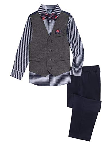 (Nautica Boys' 4-Piece Vest Set with Dress Shirt, Bow Tie, Vest, and Pants, retro fox navy blue, 18)