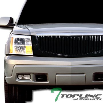 Topline Autopart Black Vertical VIP Sport Front Hood Bumper Grill Grille Cover ABS 02-06 Cadillac (Vip Front Bumper)