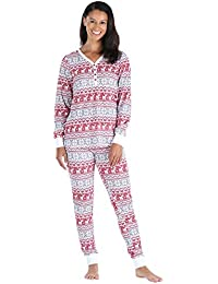 Women's Thermal Long Sleeve Henley and Jogger Pants Pajama Set