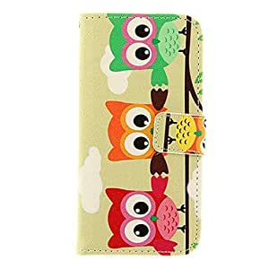 LZX Three Owls Pattern TPU Back Cover PU Full Body Case with Stand and Card Slots for iPhone 6