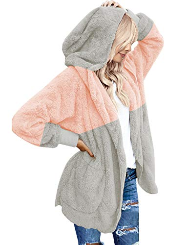 (Vetinee Women's Casual Draped Open Front Hooded Cardigan Pockets Oversized Coat Pink and Light Grey Size Small (fits US 4-US 6))