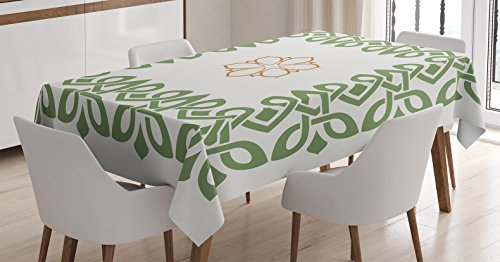 Ambesonne Celtic Decor Tablecloth, Nostalgic Celtic Art Motif Inspired Square Shape Frame Print with a Flower in The Centre, Dining Room Kitchen Rectangular Table Cover, 52 X 70 inches, Green Beige (Celtic Wedding Decorations)