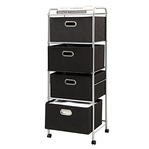 Wegi King Storage Cabinet Shelf Rolling Cart,4 Shelves Organization Cart with 4 Non-woven Collapsible Drawers and 4 Rolling Wheels (2 with brakes) for Clothes, Books, Tools and Papers