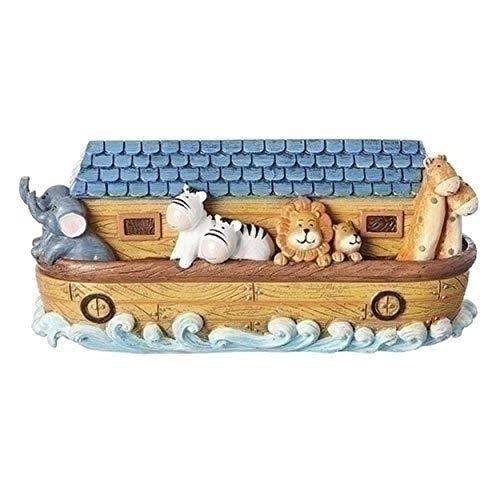 Whimsical Noah's Ark Swirling Waves 9.5 x 4.5 Resin Stone Birth Certificate Box