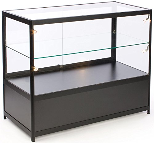 Free-Standing Glass Display Case, 48 x 38 x 23-3/4-Inch, Framed In Black Aluminum, Black Laminate Locking Bottom (Illuminated Display Case)