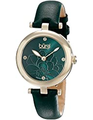Burgi Womens BUR128GN Diamond Accented Flower Dial Yellow Gold & Green Leather Strap Watch