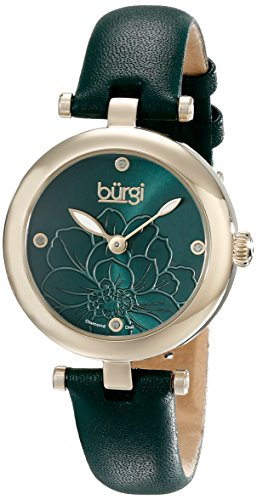 Burgi Women's BUR128GN Diamond Accented Flower Dial Yellow Gold & Green Leather Strap Watch (Yellow Womens Dial)