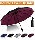 Luxau Compact Travel Umbrella, Windproof UV Protection for Sun Rain, w/47in Large Sturdy