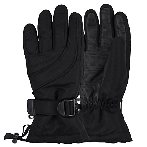 Women's Thinsulate Lined Waterproof Ski Glove (Black, Small/Medium)