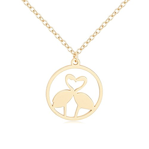 NOUMANDA Fashion Couple Loving Flamingo Bird Necklace Charm Hollow Circle Pendant Jewelry (Gold)
