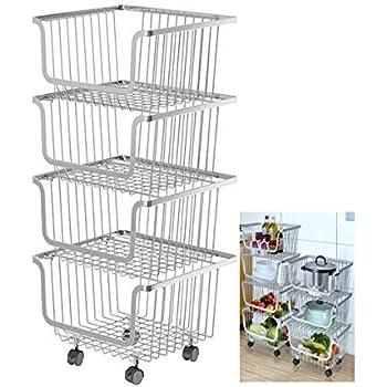 Storage Stacking-Bins Rolling Metal Wire-Market-Basket Pantry Organizer w/Wheels (4 Baskets)