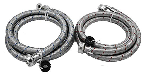 KILAUAN Washing Machine Hose Stainless Steel Braided Water Supply Line with 90 Degrees Elbow - 4 FT Burst Proof - With Red & Blue Color Coded (NEWEST MODEL)