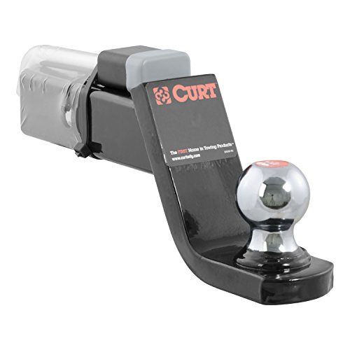 CURT 45142 Trailer Hitch Ball Mount with 2-Inch Trailer Ball & Hitch Lock, Fits 2-Inch Receiver, 7,500 lbs. GTW, 4-Inch Drop ()