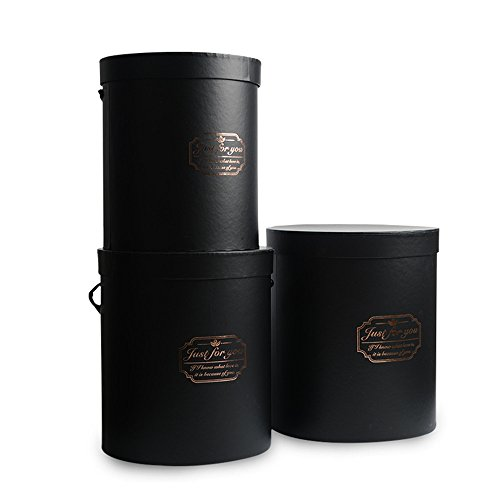 BBC Luxury Cylindrical Packaging Flower Paper Box With Lid Set/3 (S/M/L) (Black) -