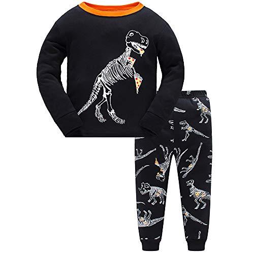 - 4T Boys Pajamas Dinosaur Kid Clothes 100% Cotton PJs Toddler Long Sleeve Sleepwear Sets