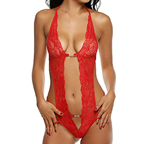 Price comparison product image Conina Women's Underwear,  Sexy Lace-ups Hollow Out Temptation Racy Sleepwear Jumpsuit Set (Red,  L)
