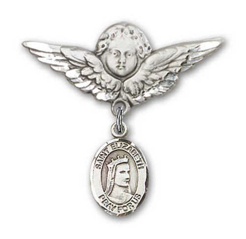 Icecarats Créatrice De Bijoux En Argent Sterling St. Elizabeth De La Broche Badge Hongrie Charme D'Ange 1 1/8 X 1 1/8