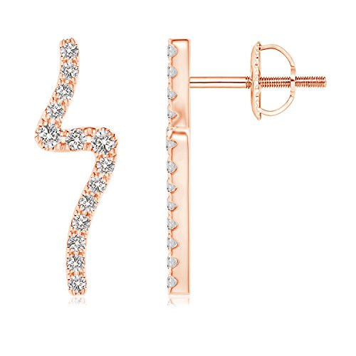 Diamond Wave Stud Earrings in 14K Rose Gold (1.4mm - 14k Wave Design Gold Earring