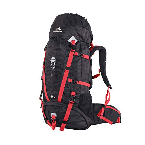 QUICK-UP Hiking Backpack 65L Internal Frame, High-Performance Daypack for Outdoor Camping Traveling, with Rain Cover