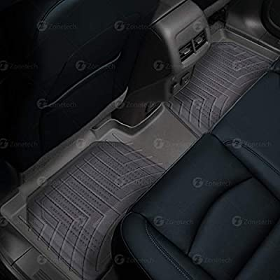 Zone Tech All Weather Full Rubber Clear Car Interior Floor Mats – 4-Piece Set Clear Heavy Duty Car Interior Floor Mats: Automotive