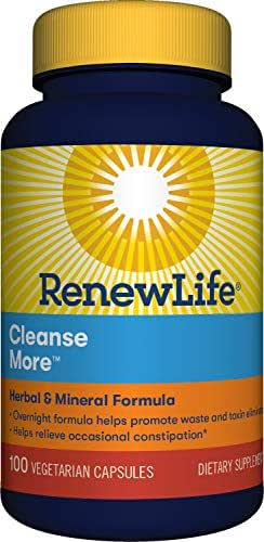Renew Life Adult Cleanse - Cleanse More, Herbal & Mineral Formula - Overnight Constipation Relief - Gluten, Dairy & Soy Free - 100 Vegetarian Capsules