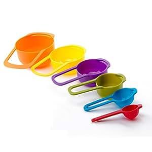 Ostrosi 6 Pcs Plastic Measuring Cups Spoons Set Home Baking Teaspoon Cooking Utensils Tools