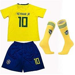 Coupe du Monde de Football FFF au Brésil Neymar Da Silvasantosjúniorno.10 Maillot/Chemise Vintage à Manches Courtes Sweat-Shirt 100% Pure Tee Shirt Enfant
